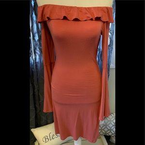 Burnt Orange off The Shoulder Dress SMALL